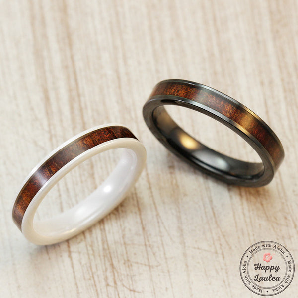 Pair of Ceramic Rings with Hawaiian Koa Wood Inlay