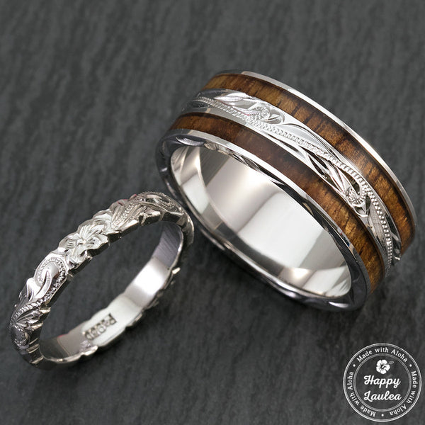 pair of hand engraved platinum and sterling silver wedding ring set with hawaiian koa wood inlay - Wood Wedding Ring