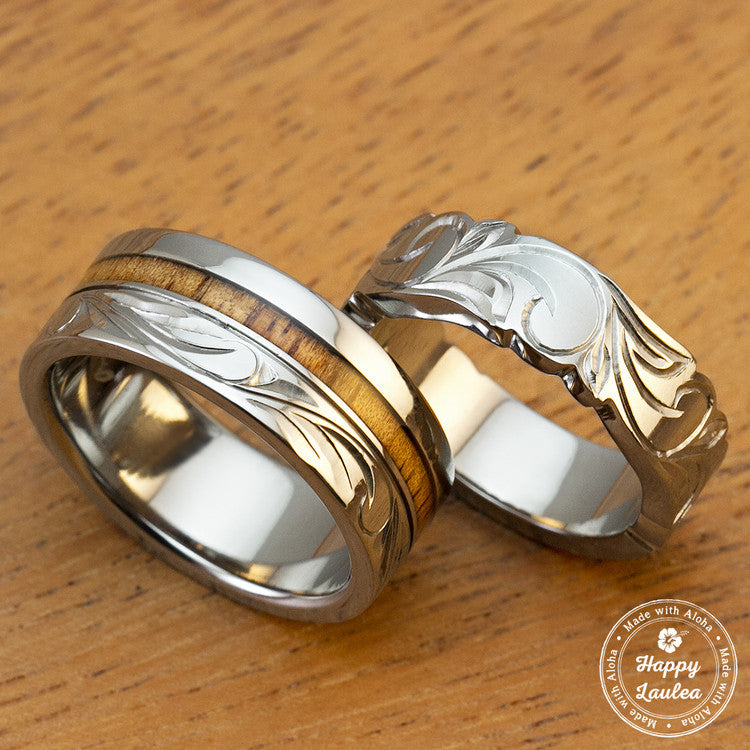 Pair of Titanium Wedding Bands with Koa Wood Inlay Hand Engraved with Hawaiian Heritage Design