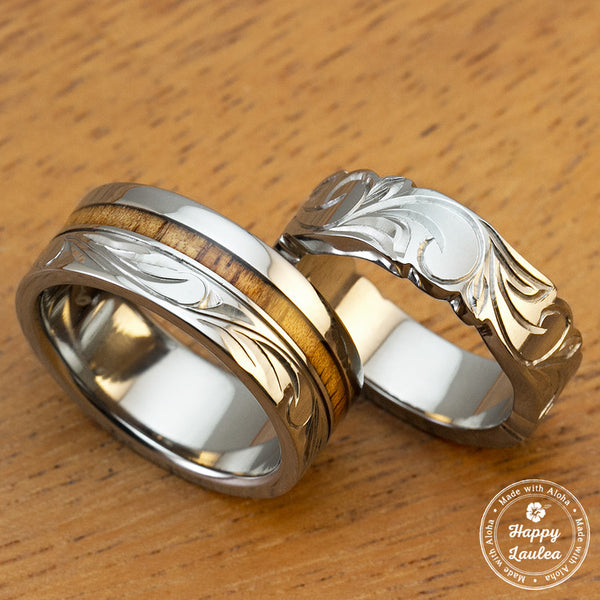 Pair of 6&8mm Assorted Titanium Couple/Wedding Rings with Koa Wood Inlay Hand Engraved with Hawaiian Heritage Design