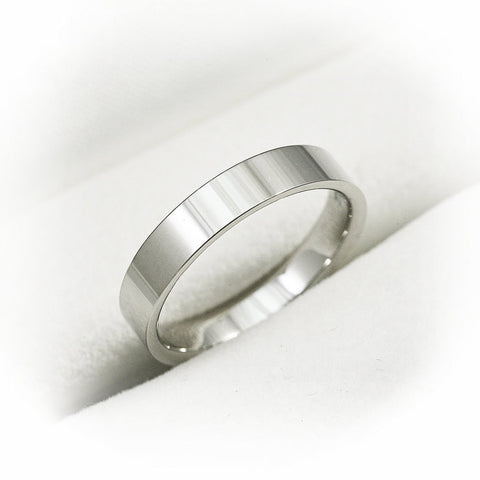 14K Solid White Gold 6mm Simple Wedding Band - Flat Shape