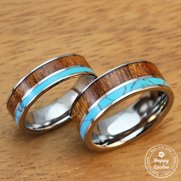Pair of Tungsten Carbide Ring with Hawaiian Koa Wood and Turquoise Inlay