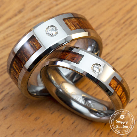 Pair of Tungsten Carbide Ring with Hawaiian Koa Wood Inlay