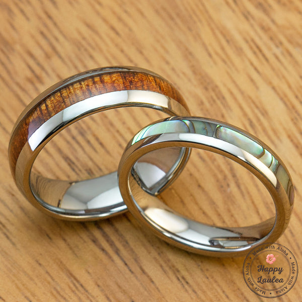 Pair of Tungsten Carbide Rings with Pau'a Shell and Koa Wood Inlay
