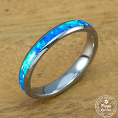 Petite Tungsten Carbide Blue Opal Ring - 3mm, Dome Shape, Comfort Fitment