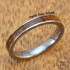 Petite Tungsten Carbide Ring with Hawaiian Koa Wood Inlay - 3mm, Flat Shape, Comfort Fitment