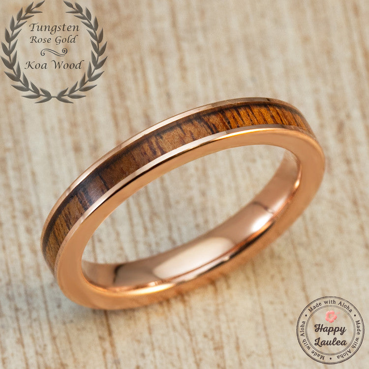 Rose Gold Ion Plated Tungsten Carbide Ring with Hawaiian Koa Wood Inlay - 3mm, Flat Shape, Comfort Fitment