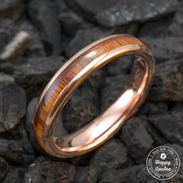 Rose Gold Ion Plated Tungsten Carbide Wedding Ring With