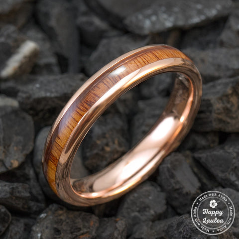 Rose Gold Ion Plated Tungsten Carbide Wedding Ring with Hawaiian Koa Wood Inlay Plating