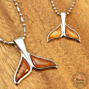 Set of Silver Whale Tale Pendants with Koa Wood Inlay (Chain Included)