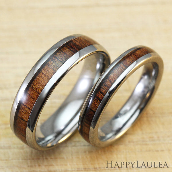 Set of Tungsten Carbide Ring with Koa Wood Inlay - 4&6mm, Dome Shape, Comfort Fitment