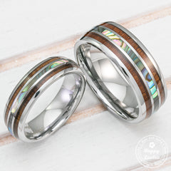 Pair of Tungsten Carbide Couple/Wedding Ring Set with Abalone Shell and Hawaiian Koa Wood Tri Inlay - 6&8mm, Dome Shape, Comfort Fitment