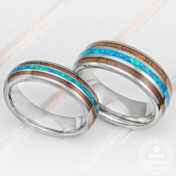 Pair of 6 & 8mm Width Tungsten Couple/Wedding Ring Set with Blue Opal and Koa Wood Tri Inlay - Dome Shape, Comfort Fitment