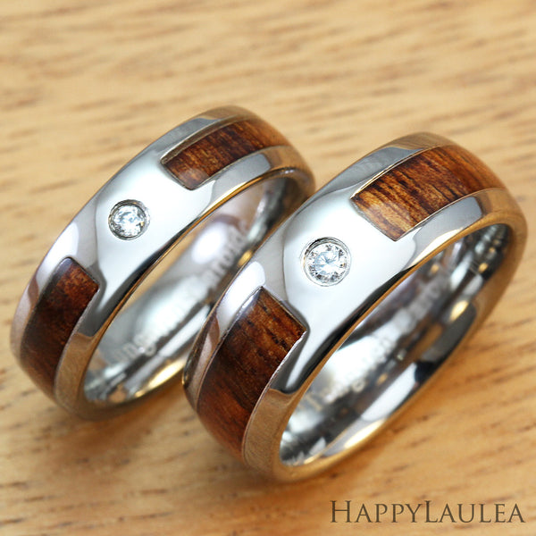 Pair of Cubic Zirconia Tungsten Rings with Hawaiian Koa Wood Inlay, 6 & 8mm, Dome Shape, Comfort Fitment