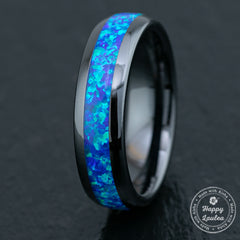 Black Hi-Tech Ceramic Ring /  Blue Opal Inlay / 6mm / Dome Shape & Comfort Fitment