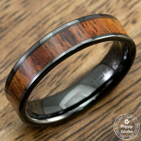 HI-TECH Black Ceramic Ring with Koa Wood Inlay - 6mm, Flat Shape, Comfort Fitment