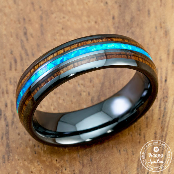 HI-TECH Black Ceramic Ring with Blue Opal & Koa Wood Tri-Inlay - 6mm, Dome Shape, Comfort Fitment