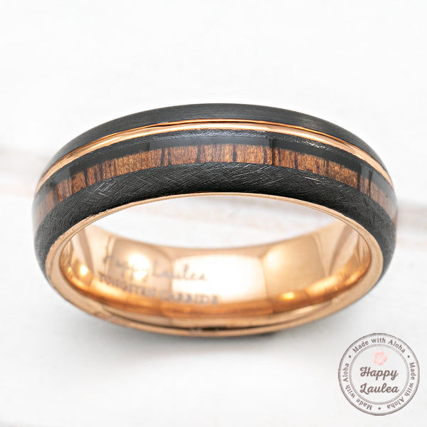 Black & Rose Gold Tungsten Ring with Offset Strip and Koa Wood Inlay - 6mm, Dome Shape, Comfort Fitment