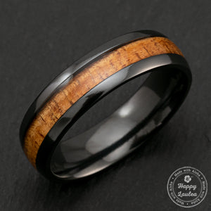 Black Zirconium 6mm Ring with Hawaiian Koa Wood Inlay - Dome Shape, Comfort Fitment
