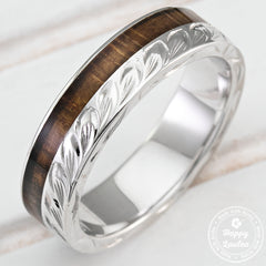925 Sterling Silver Hand Engraved Maile Leaf Ring with Hawaiian Koa Wood Inlay - 6mm, Flat Shape, Standard Fitment