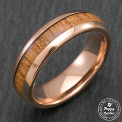 Tungsten Carbide Rose Gold Plated Ring with Koa Wood Inlay - 6mm, Dome Shape, Comfort Fitment