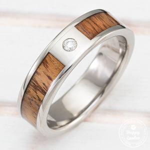 Titanium Diamond Ring with Hawaiian Koa Wood Inlay - 6mm, Flat Shape, Standard Fitment