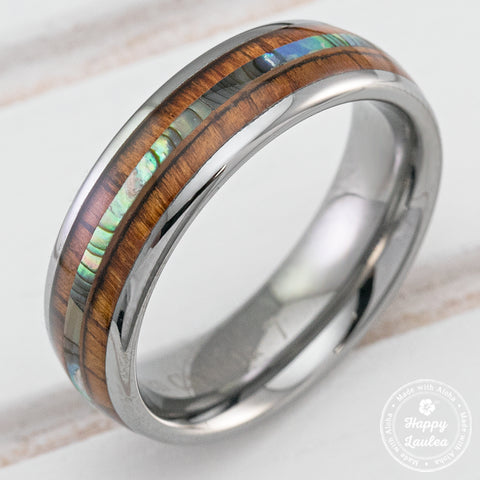 Tungsten Carbide Ring with Abalone Shell & Koa Wood Inlay (without center strip) - 6mm, Dome Shape, Comfort Fitment