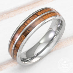 Tungsten Carbide Ring with Koa Wood Duo Inlay - 6mm, Dome Shape, Comfort Fitment