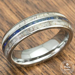 TUNGSTEN CARBIDE RING WITH CRUSHED LAPIS LAZULI & ANTLER TRI-INLAY - 6MM, DOME SHAPE, COMFORT FITMENT