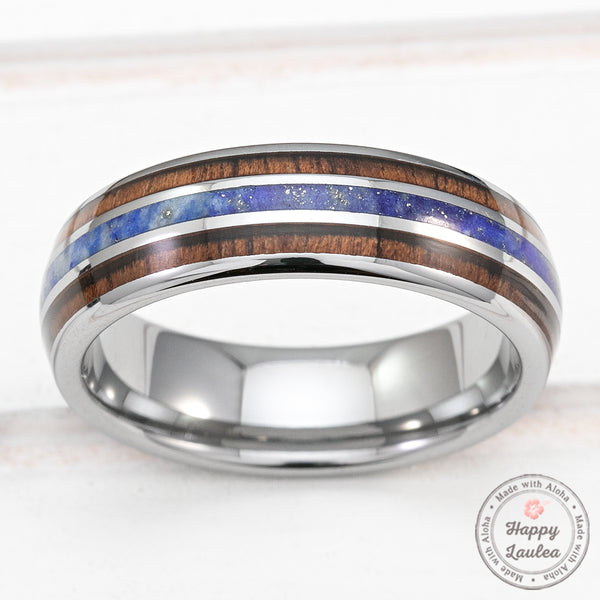 Tungsten Carbide 6mm Ring with Lapis & Koa Wood Tri-Inlay - Dome Shape, Comfort Fitment