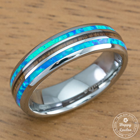 Tungsten Carbide Ring with Opal & Koa Wood Tri Inlay - 6mm, Dome Shape, Comfort Fitment
