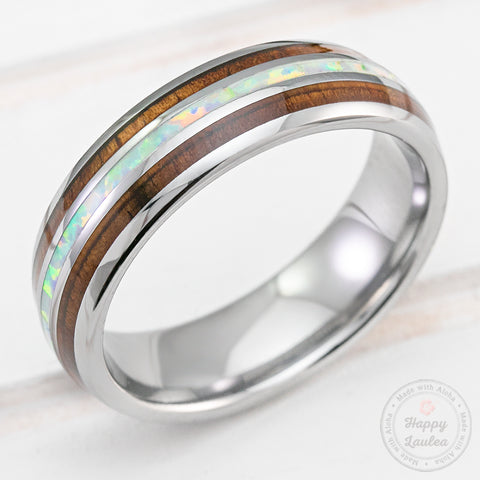 Tungsten Carbide 6mm Ring with White Opal & Hawaiian Koa Wood Tri Inlay - Dome Shape, Comfort Fitment