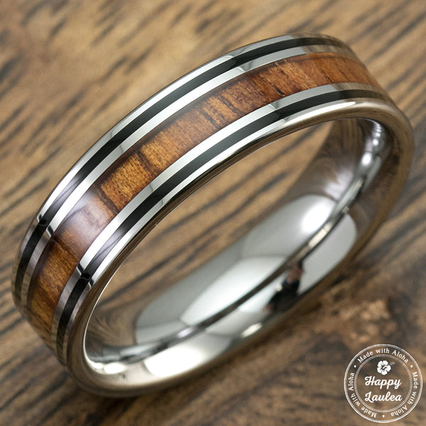 Hawaiian Koa Wood 6mm Tungsten Carbide Ring with Black Enamel linings