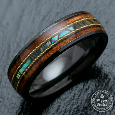 Black Zirconium Ring with Guitar String, Abalone Shell, & Koa Wood Tri-Inlay - 6mm, Dome Shape, Comfort Fitment