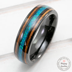 Black Zirconium Ring with Azure Blue Opal & Hawaiian Koa Wood Tri-Inlay - 6mm, Dome Shape, Comfort Fitment
