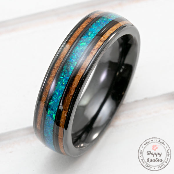 Pair of 6&8mm Zirconium Rings with Azure Blue Opal and Hawaiian Koa Wood Tri-Inlay - Dome Shape, Comfort Fitment