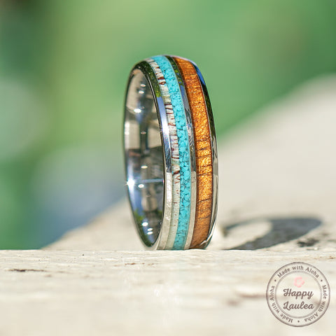 Tungsten Carbide with Antler, Turquoise, & Hawaiian Koa Wood - 6mm, Dome Shape, Comfort Fitment