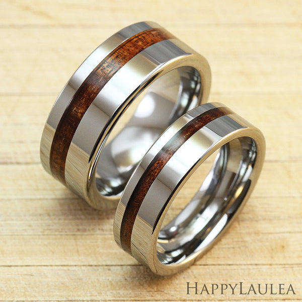 Pair of Tungsten Carbide Ring with Koa Wood Offset Inlay - 6&8mm, Flat Shape, Comfort Fitment