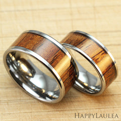 Pair of 8 & 10mm Tungsten Carbide Rings with Hawaiia Koa Wood Inlay - Flat Shape, Comfort Fitment