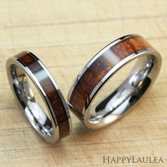 Pair of Tungsten Carbide Rings with Koa Wood Inlay - 4&6mm, Flat Shape, Comfort Fitment