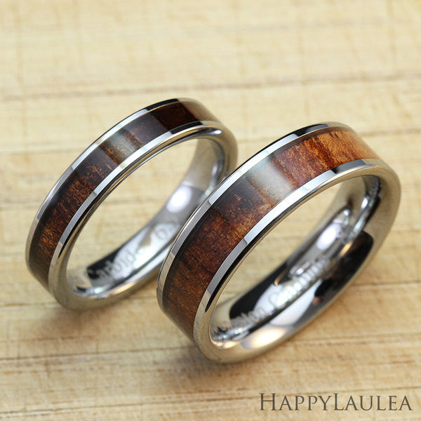 Set of Tungsten Carbide Rings with Koa Wood Inlay