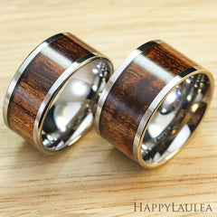 Pair of 10 & 12mm Wide Widths Tungsten Carbide Ring with Hawaiian Koa Wood Inlay - Flat Shape, Comfort Fitment