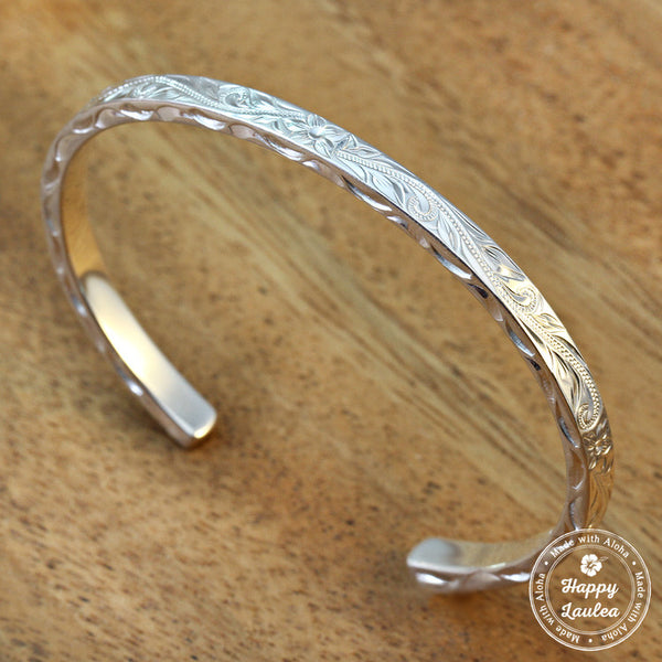 Sterling Silver Bangle/Bracelet with Hand Engraved Hawaiian Heritage Design