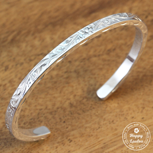 Silver Bracelet with Hand Engraved Hawaiian Heritage Design