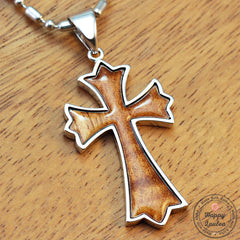 Silver Cross Pendant with Koa Wood Inlay