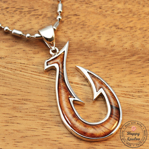 Silver Fish Hook Pendant with Hawaiian Koa Wood Inlay