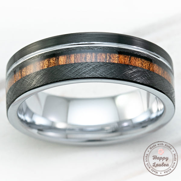 Black & White Gold Tungsten Carbide Ring with Offset strip and Koa Wood Inlay -7.5mm Flat Shape, Comfort Fitment