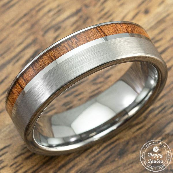 Tungsten Carbide Brush Finish Ring with Offset Koa Wood Inlay-7mm, Comfort Fitment, Flat Shape