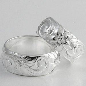 Silver Ring with Hand Engraved Hawaiian Heritage Design