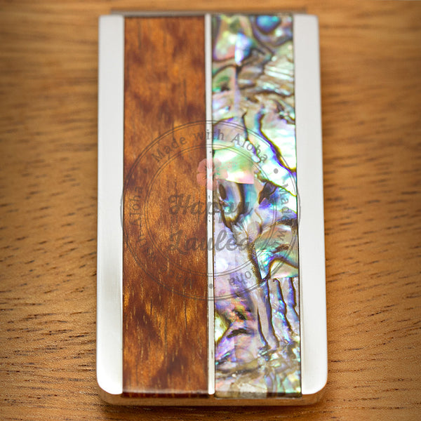 Solid Stainless Steel Body Money Clip with Mother of Pearl Abalone Pau'a Shell and Hawaiian Koa wood Inlay